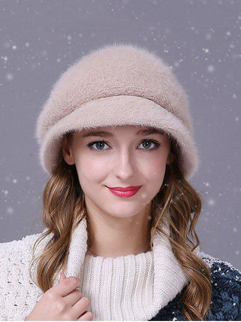 outfit Faux Fur Wave Stripe Newsboy Cap - MILK WHITE  Mobile