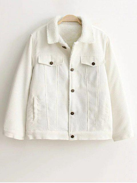 women Buttoned Sherpa Jacket - WHITE M Mobile