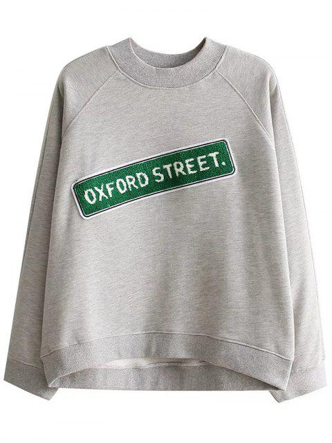 women's Patched Loose Letter Sweatshirt - GRAY M Mobile