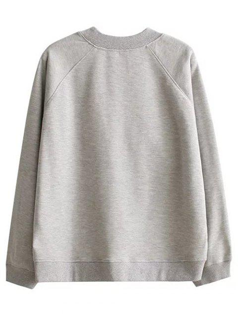 women Patched Loose Letter Sweatshirt - GRAY L Mobile