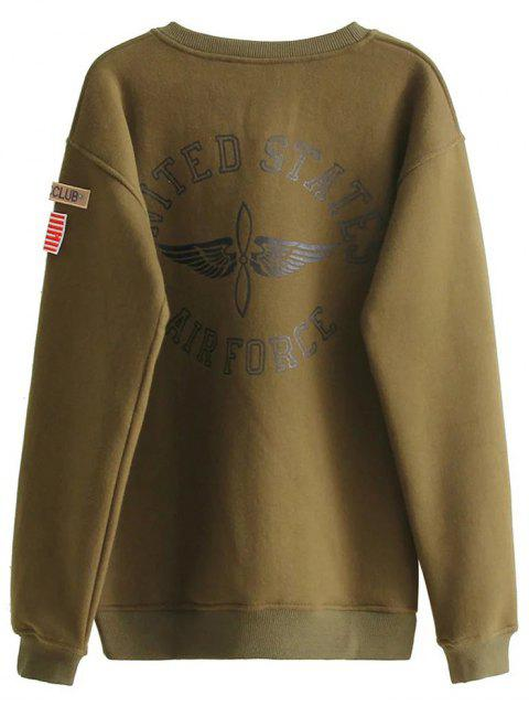 shop Patch Desigh Letter Sweatshirt - ARMY GREEN S Mobile