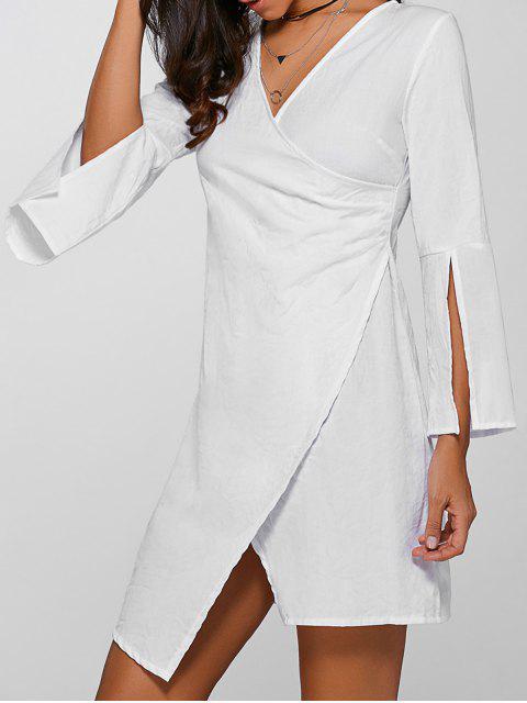 women's V-Neck Asymmetric Flare Sleeve Surplice Dress - WHITE M Mobile