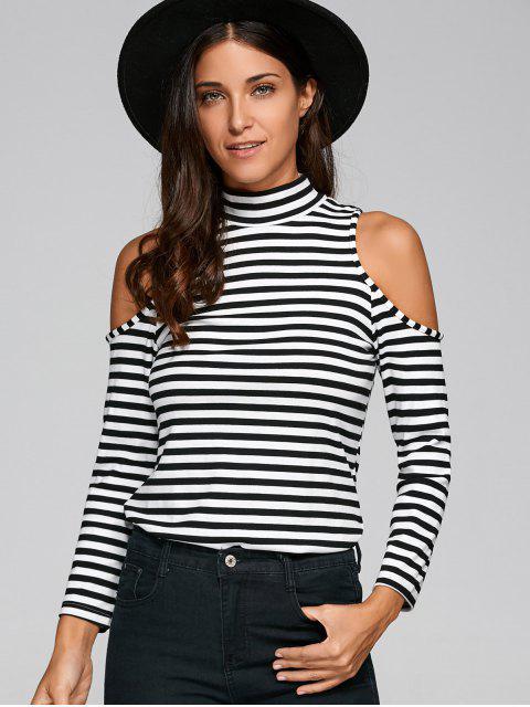 shops Striped Cold Shoulder T-Shirt - WHITE AND BLACK M Mobile