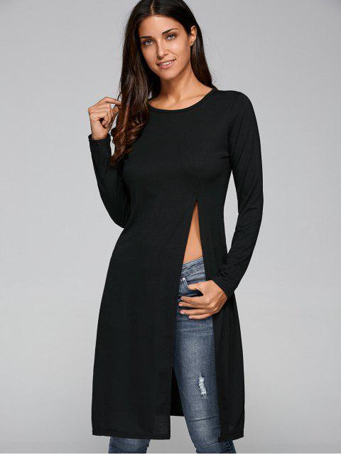 chic Fitting High Slit T-Shirt - BLACK M Mobile
