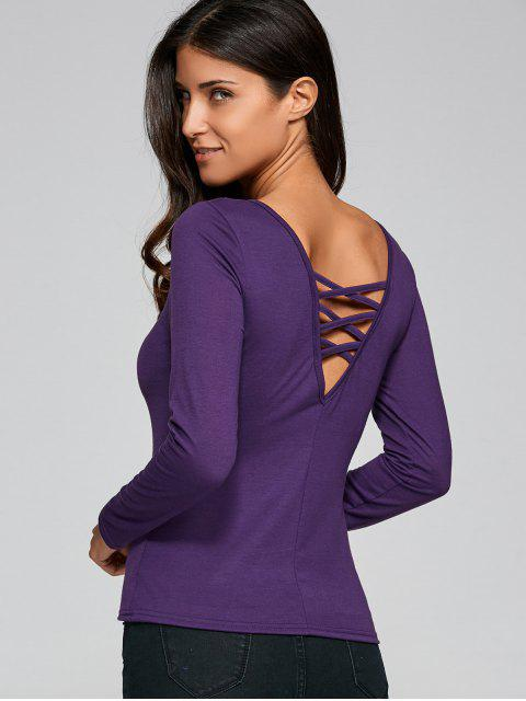 buy Fitting Cut Out T-Shirt - PURPLE S Mobile