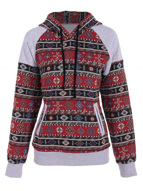 online Front Pocket Tribal Pattern Hoodie - COLORMIX S Mobile