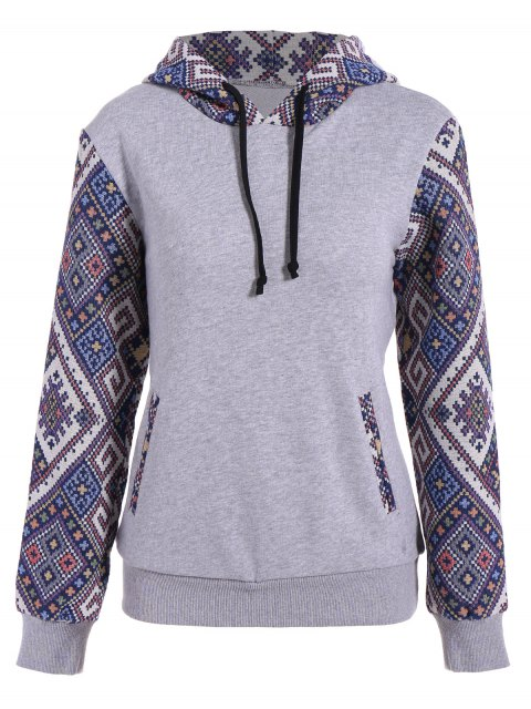 trendy Jacquard Panel Front Pocket Hoodie - GRAY S Mobile