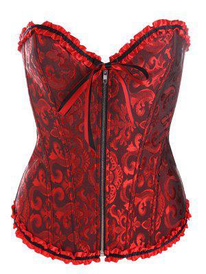 Retro Zipped Lace Up Corset - Black Red 2xl