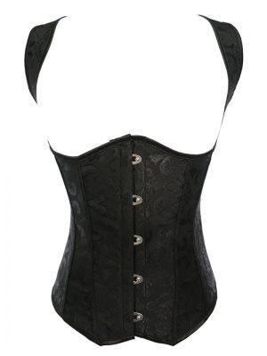 Vintage Lace Up Steel Boned Corset Vest - Black S