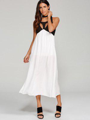 Robe Longue Découpée Avec Fente  - Blanc M