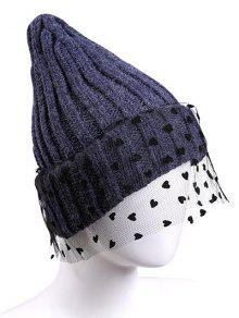 21979d24a16cb5 20% OFF] 2019 Heart Lace Flanging Knit Ski Hat In CADETBLUE | ZAFUL ...