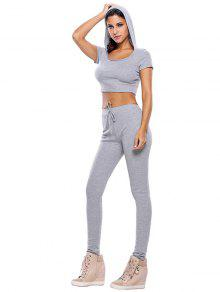 2018 casual crop top and pants fitness gym outfit in gray l zaful