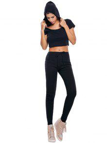 b87392a22f5 31% OFF] 2019 Casual Crop Top And Pants Fitness Gym Outfit In BLACK ...