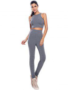 High Waist Pants Casual Crop Top Fitness Gym Outfits GRAY: Gym ...