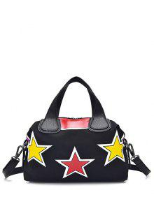 Star Pattern Zipper Color Spliced Tote Bag - Black