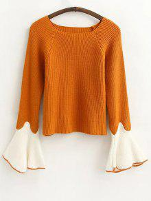 Flare Sleeve Color Block Sweater - Ginger