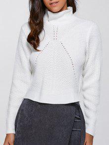 Col Haut Crop Sweater - Blanc L