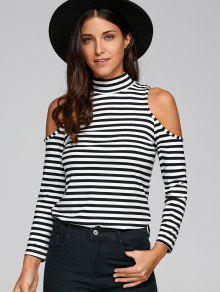 Striped Cold Shoulder T-Shirt - White And Black M