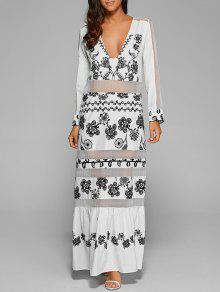 Mesh Panelled Long Dress With Sleeves - White S