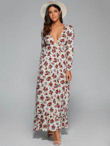 Robe Maxi Imprimée Florale à Col Plongeant à Taille Empire - Blanc Xl