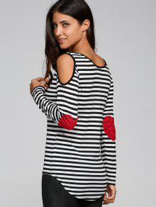 Casual Striped Cold Shoulder T-Shirt - Black Xs
