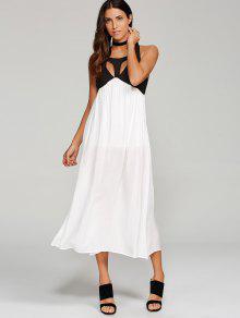 High Slit Cut Out Midi Dress - White M