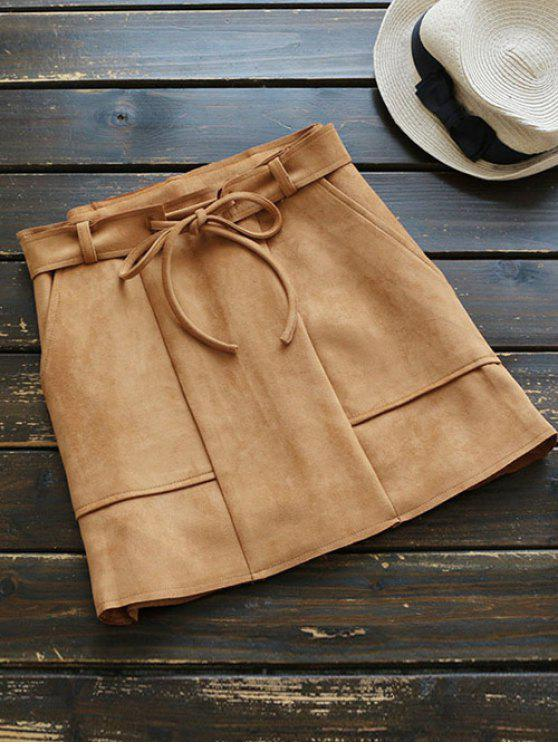best Faux Suded Belted Skirt - CAMEL M