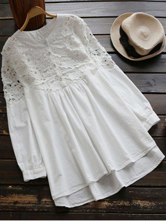 shop Lace Spliced High Low Smock Dress - WHITE ONE SIZE