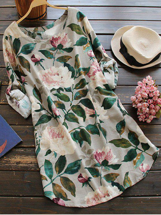 buy Floral Long Sleeve Linen Blouse Dress - FLORAL ONE SIZE