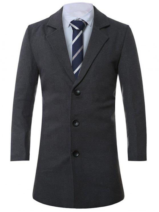 latest Lapel Single-Breasted Lengthen Wool Coat - DEEP GRAY 2XL