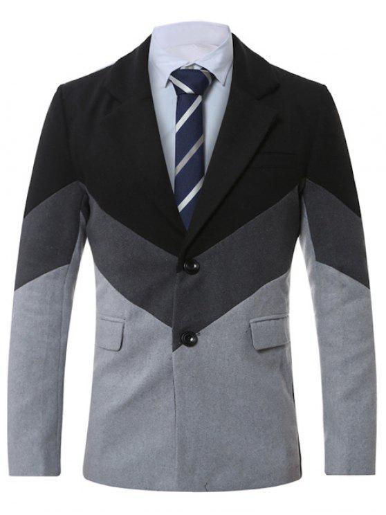 Manteau en laine épissée à col simple boutonné - Gris Clair XL