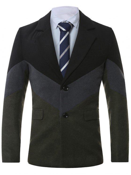 Manteau en laine épissée à col simple boutonné - gris foncé 4XL