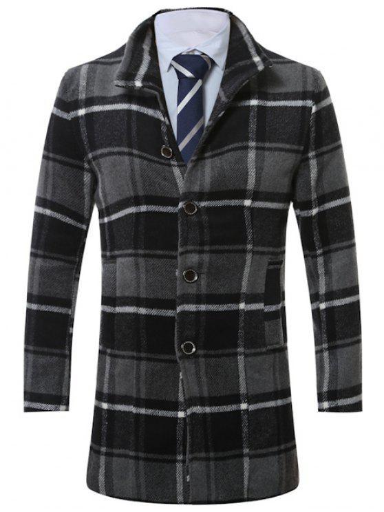 online Lapel Single-Breasted Vintage Tartan Wool Coat - GRAY 2XL