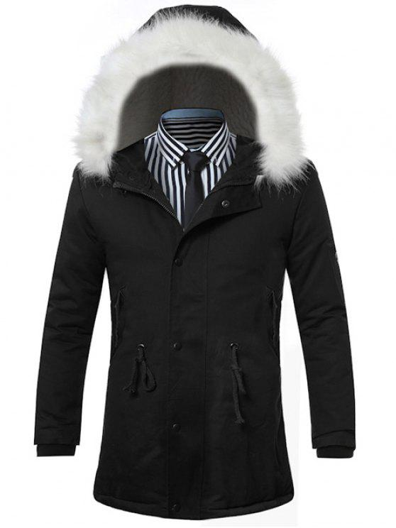 Colletto in pelliccia sintetica con cappuccio con coulisse Zip-up cappotto imbottito - Nero L