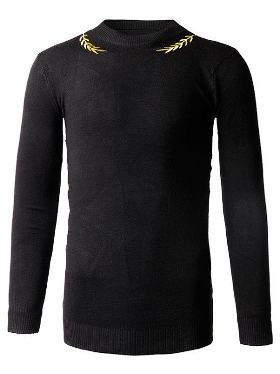 affordable Slim-Fit Crew Neck Embroidery Sweater - BLACK M