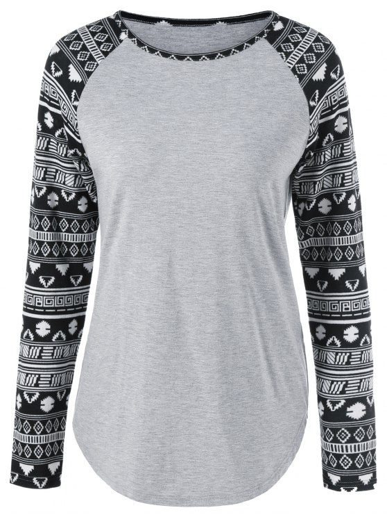 fashion Long Tribal Sleeve T-Shirt - LIGHT GRAY L