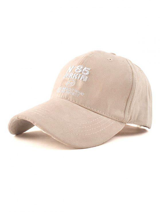 shop N 85 Embroidery Faux Suede Baseball Hat - OFF-WHITE