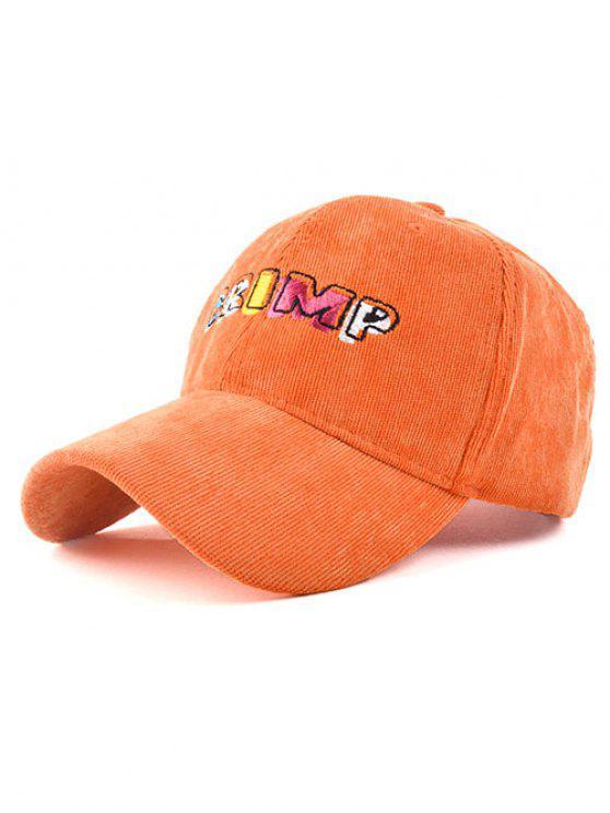 chic CRIMP Embroidery Corduroy Baseball Hat - SWEET ORANGE