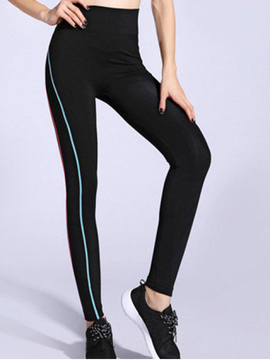 14f5dfa6a6592 22% OFF] 2019 Contrast-Trim Stretchy Gym Leggings In BLUE AND PINK ...