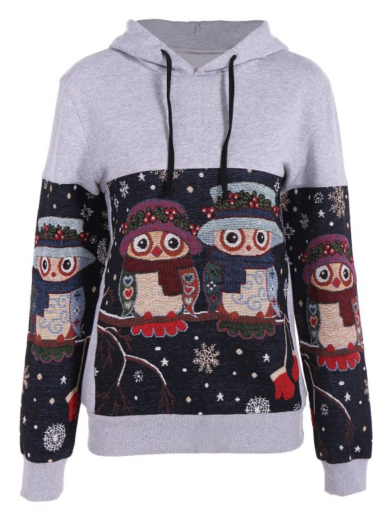 Copo de nieve de Navidad con capucha del búho Jacquard - Gris XL