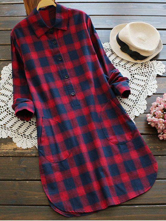 shops Pockets Plaid Tunic Flannel Shirt Dress - RED M