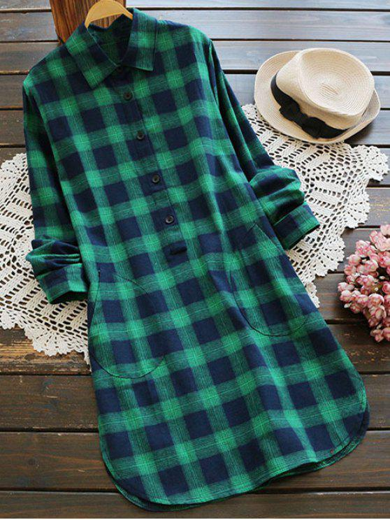 latest Pockets Plaid Tunic Flannel Shirt Dress - GREEN L