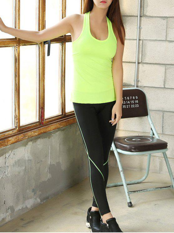 women's U Neck Skinny Tank Top and Stretchy Gym Pants - NEON GREEN M