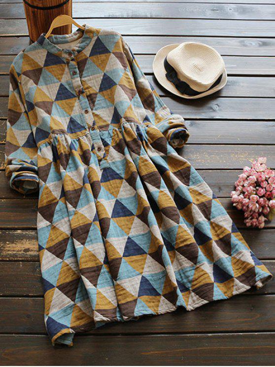 sale Stand Neck Argyle Dress - COLORMIX ONE SIZE