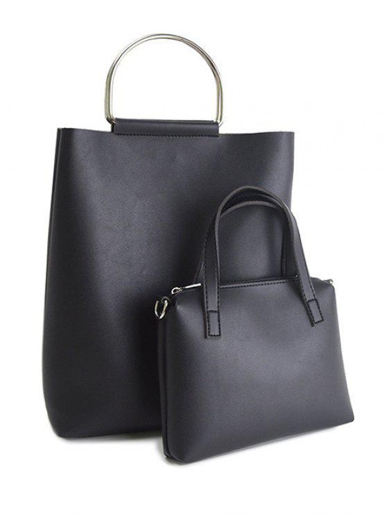 online Magnetic Metal Handle PU Leather Tote Bag - BLACK