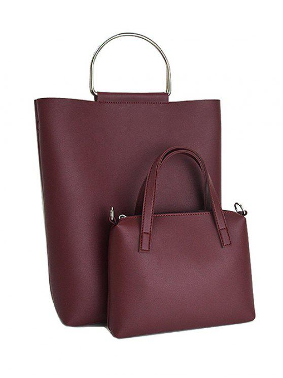new Magnetic Metal Handle PU Leather Tote Bag - WINE RED