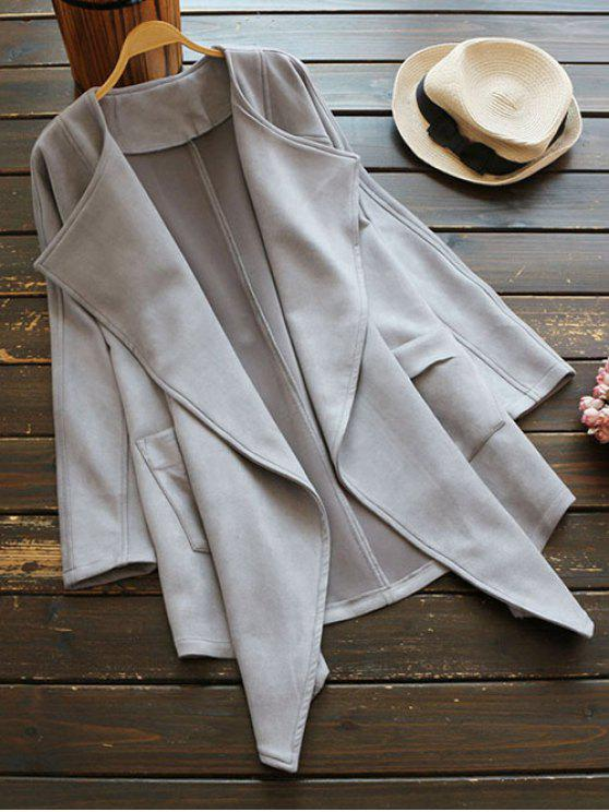 latest Suede Drape Front Coat - GRAY ONE SIZE