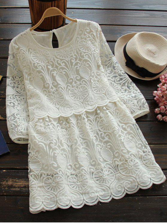 unique Retro Embroidered Mini Dress - WHITE M