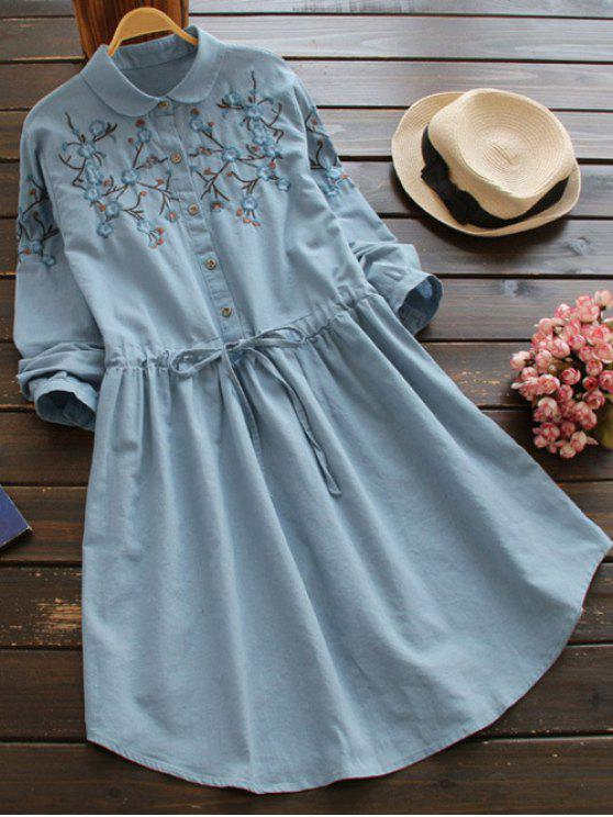 fashion Flat Collar Embroidered Dress - LIGHT BLUE ONE SIZE
