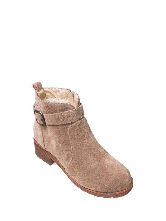 Buckle Flock Chunky botas do tornozelo do salto - Camelo 37
